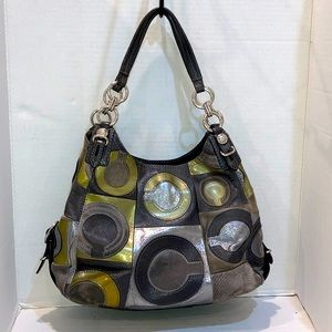 COACH Leather & Suede Mia Inlaid C Maggie Hobo Bag